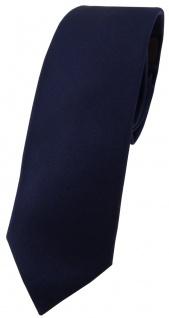 Blick. elementum - schmale Satin Seidenkrawatte in navy marine uni einfarbig
