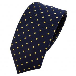 Schmale TigerTie Krawatte blau dunkelblau marine gold gepunktet - Binder Tie