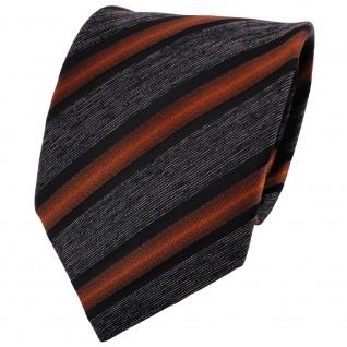 TigerTie Krawatte braun kupfer anthrazit schwarz grau gestreift - Binder Schlips