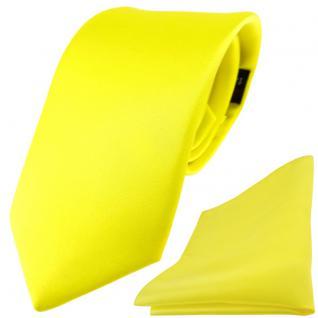 Modische TigerTie Satin Seidenkrawatte + Seideneinstecktuch gelb zitronengelb