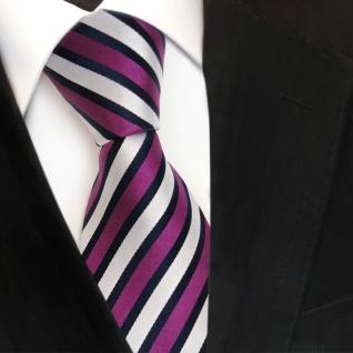Designer Seidenkrawatte magenta lila silber blau gestreift - Krawatte Seide Tie - Vorschau 3