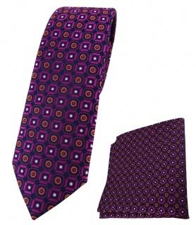 schmale TigerTie Krawatte + Einstecktuch magenta orange silber schwarz gemustert