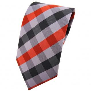 TigerTie Krawatte orange silber grau anthrazit kariert - Tie Binder