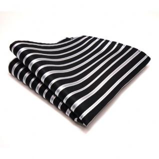 3er Set TigerTie Krawatte + Einstecktuch + Box in schwarz silber grau gestreift - Vorschau 3