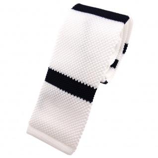 Schmale Strickkrawatte weiß blau dunkelblau gestreift - Krawatte Polyester Tie