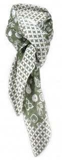 Halstuch olivgrün grau mit vielen kleinen Motiven und Sternen - Gr. 100 x 100 cm