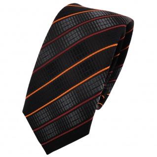 schmale TigerTie Krawatte in orange schwarz anthrazit gestreift - Binder Tie