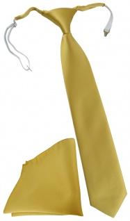 TigerTie Security Sicherheits Krawatte + Einstecktuch in gold einfarbig Uni