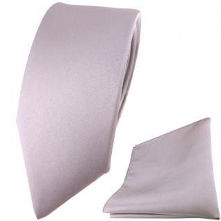 schmale TigerTie Satin Seidenkrawatte + Seideneinstecktuch silber grau einfarbig
