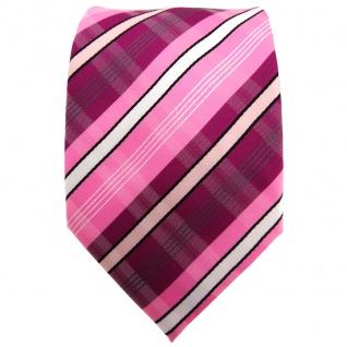 TigerTie Krawatte lila violett rosa pink weiß schwarz grau gestreift - Binder - Vorschau 2