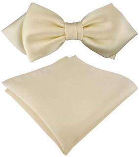 vorgebundene TigerTie Spitzfliege + Einstecktuch in beige Uni einfarbig + Box