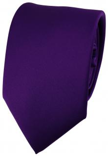 TigerTie Satin Krawatte in dunkles lila violett Uni Einfarbig