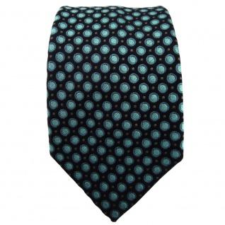 Enrico Sarto Seidenkrawatte türkis anthrazit schwarz gepunktet - Krawatte Seide - Vorschau 2