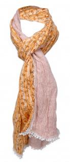 gecrashter Schal in orange weiß gemustert mit Spitze - Gr. 180 x 50 cm
