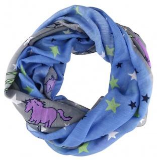Loop Schal Halstuch in blau grau lila grün schwarz marine - Motiv Einhorn-Sterne