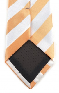 TigerTie Designer Krawatte in apricot weiss gestreift - Vorschau 4