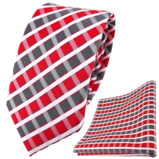 schmale TigerTie Krawatte + Einstecktuch in rot grau silber weiss gestreift
