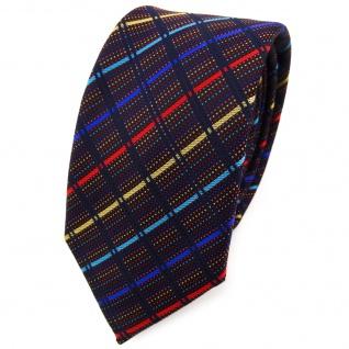Schmale TigerTie Krawatte in gold rot blau türkis schwarz gestreift - Schlips