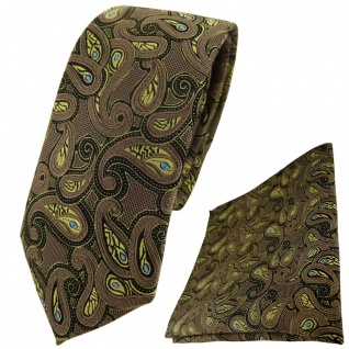 schmale TigerTie Krawatte + Einstecktuch in braun gold blau schwarz Paisley