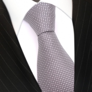 Mexx Seidenkrawatte grau hellgrau silber gepunktet - Krawatte Seide Silk