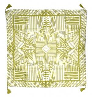 Halstuch in senfgrün grau gemustert mit Tusseln an den Ecken - Gr. 100 x 100 cm