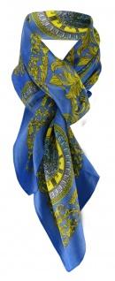 Halstuch Chiffon Satin in royal blau gelb türkis grau schwarz mit Uhrmotiven
