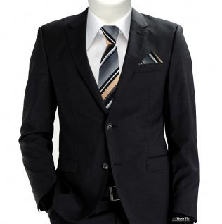 schmale TigerTie Krawatte + Einstecktuch in lachs grau weiss schwarz gestreift - Vorschau 2
