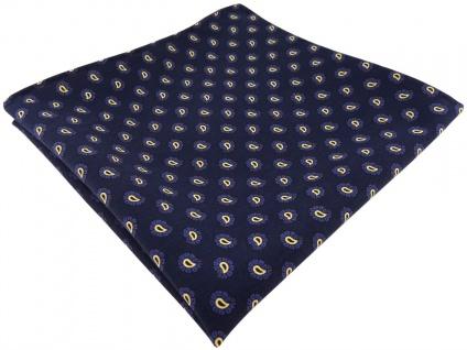 TigerTie handrolliertes Seideneinstecktuch in marine blau gold Paisley gemustert - Vorschau 1