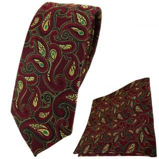 schmale TigerTie Krawatte + Einstecktuch in bordeaux gold grün schwarz Paisley