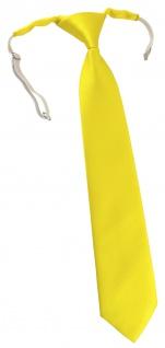TigerTie Kinderkrawatte in gelb einfarbig Uni - vorgebunden mit Gummizug