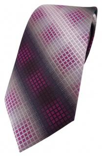 TigerTie Designer Krawatte in violett lila silber grau schwarz kariert