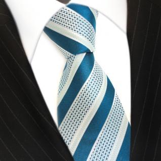 Designer Seidenkrawatte türkis blaugrün silber gestreift - Krawatte 100 % Seide