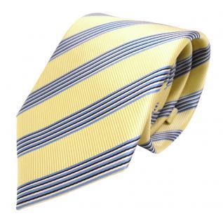 Elegante TigerTie Krawatte - Schlips Binder gelb blau schwarz weiss gestreift