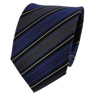 Designer Seidenkrawatte blau anthrazit schwarz silber gestreift - Krawatte Seide