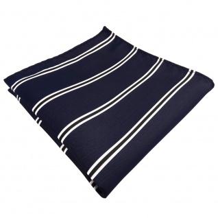 TigerTie Designer Einstecktuch blau dunkelblau schwarz weiß gestreift
