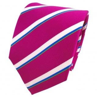 TigerTie Seidenkrawatte magenta fuchsia weiß blau grün gestreift- Krawatte Seide