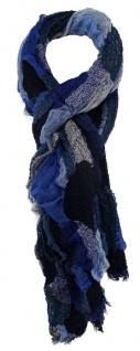 TigerTie Designer Schal in marine royal blau grau gemustert - Größe 260 x 60 cm