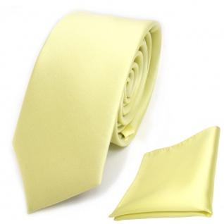 schmale TigerTie Schlips Krawatte + Einstecktuch gelb blassgelb uni Binder