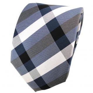 TigerTie Seidenkrawatte blau ozeanblau silber anthrazit kariert - Krawatte Seide