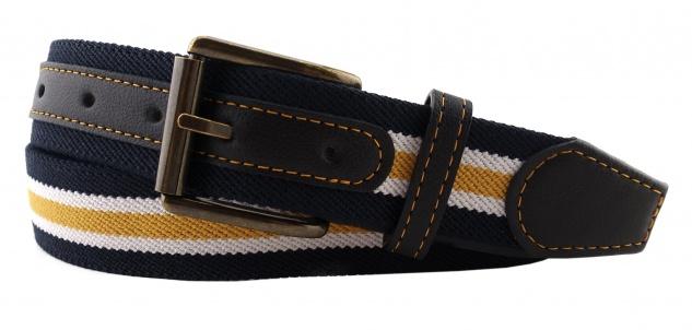 TigerTie - Stretchgürtel gelb dunkelblau weiß gestreift - Bundweite 90 cm