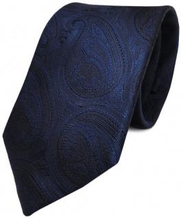 TigerTie Seidenkrawatte dunkelblau marin schwarz paisley - Krawatte 100% Seide