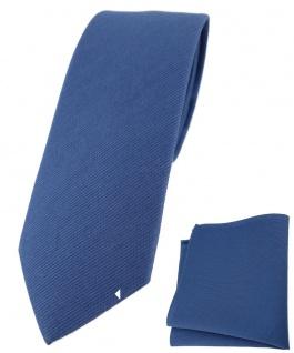 schmale TigerTie Krawatte + Einstecktuch aus 100% Baumwolle dunkelblau einfarbig