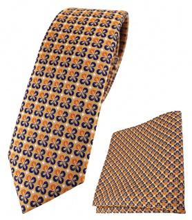 schmale TigerTie Krawatte + Einstecktuch in orange silber marine gemustert