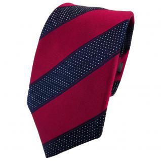 Enrico Sarto Seidenkrawatte rot blaulila silber gestreift - Krawatte Seide