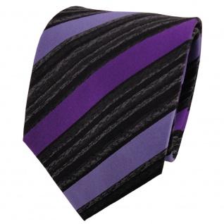 TigerTie Seidenkrawatte lila violett anthrazit schwarz gestreift - Krawatte Silk