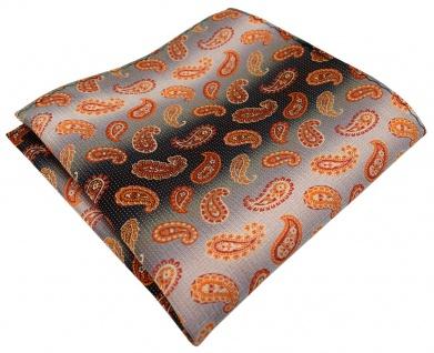 TigerTie Designer Einstecktuch in orange anthrazit grausilber Paisley gemustert
