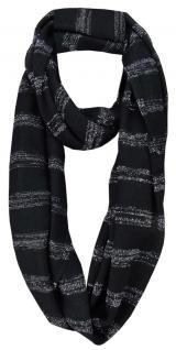 Damen Loop Schal in schwarz silber gestreift im Glitzerlook - Gr. 180 x 60 cm