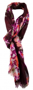 TigerTie Schal in magenta rosa bordeaux lila orange grau grün Blumenmuster