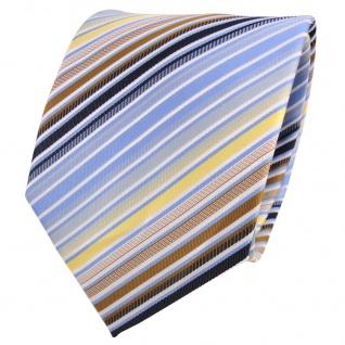 Designer Krawatte blau hellblau gold gelb weiß gestreift- Binder Tie
