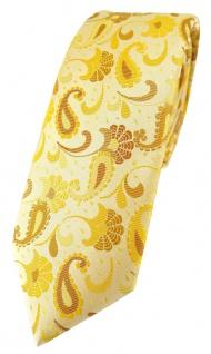 schmale TigerTie Designer Krawatte in gelb senfgelb gold Paisley gemustert